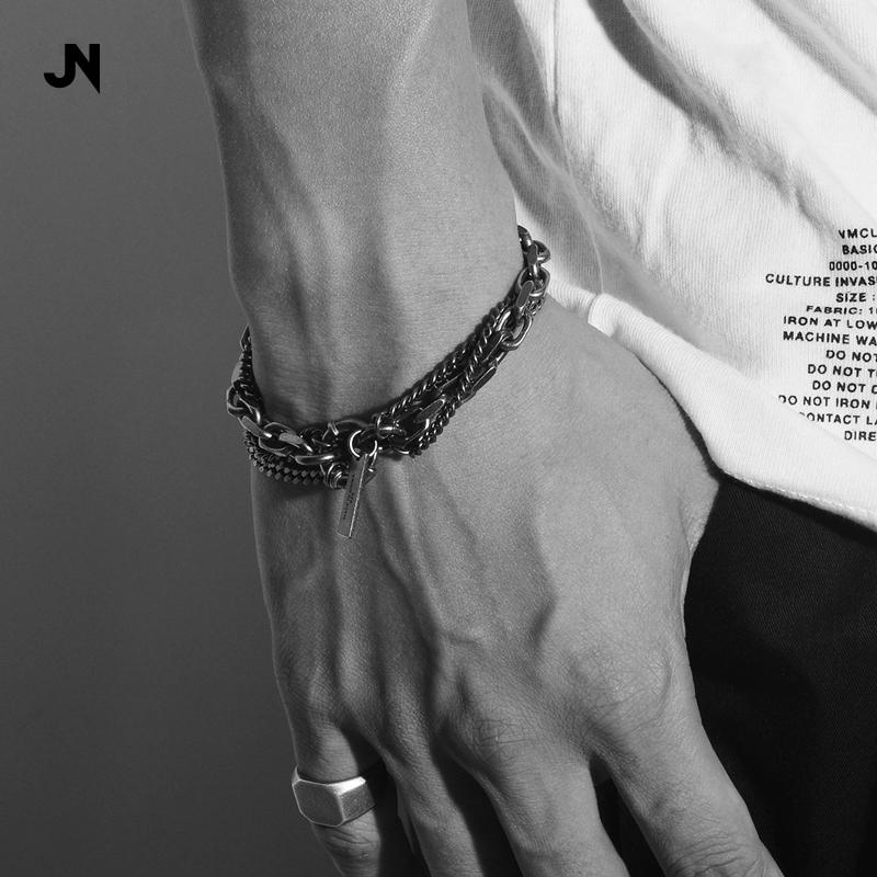 JAN&NENG 925纯银造旧哑光男士手链暗黑先锋叠戴yohji RO风格配饰