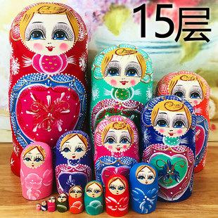 正品 俄罗斯特色15层套娃定制刻字中国风创意礼物木质益智玩具清仓