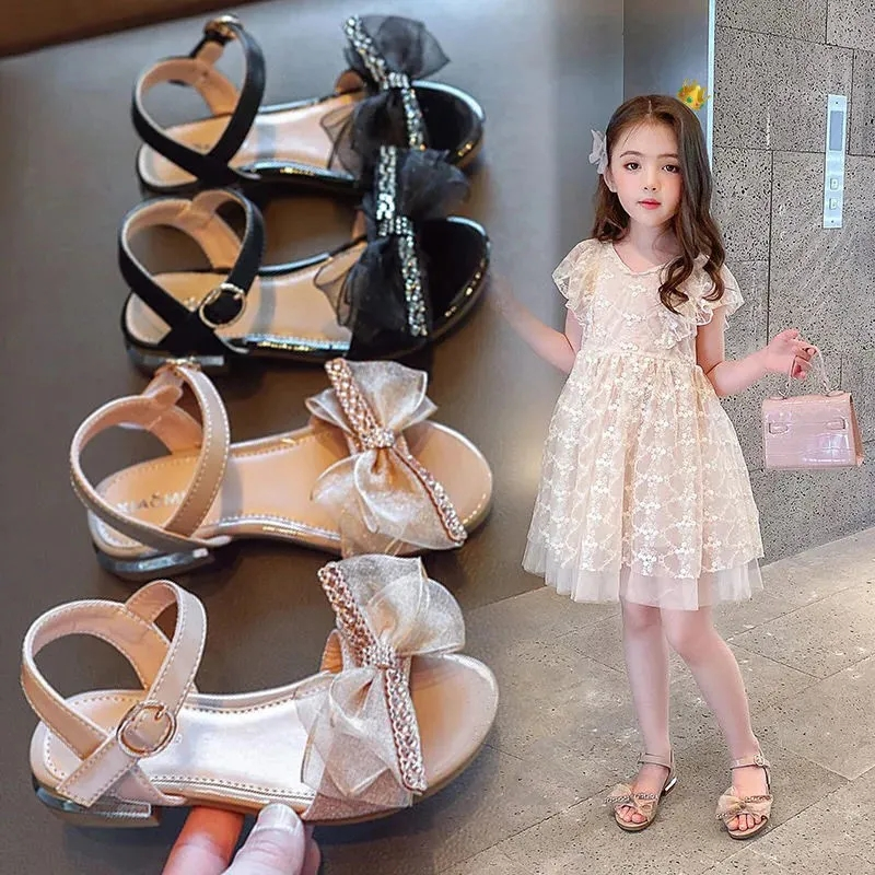 Girls Princess sandals bow sandals 2021 summer new Korean fashion Rhinestone open toe sandals middle childrens shoes