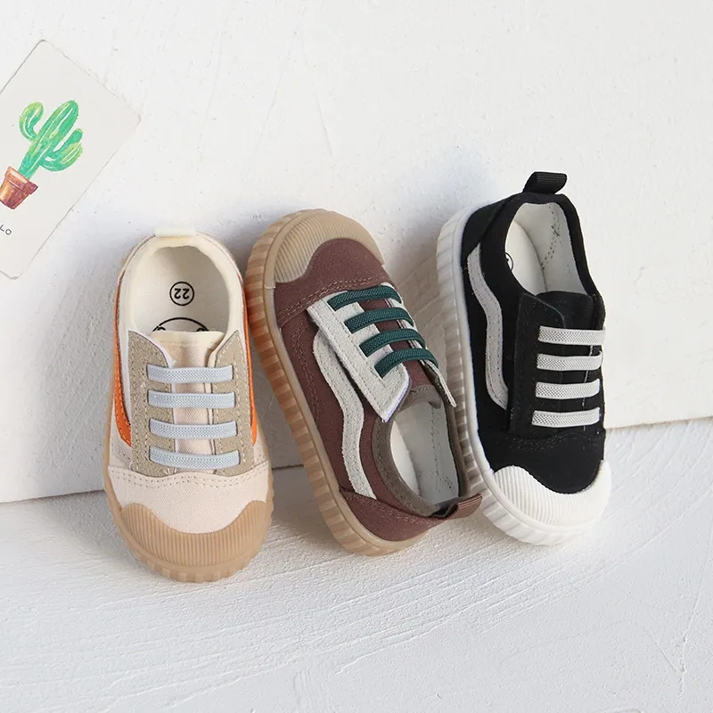 New childrens shoes childrens Retro trend one foot canvas shoes girls boys casual Korean version net red biscuit board shoes