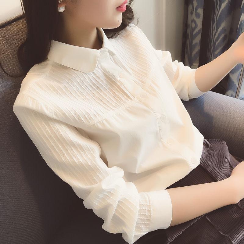 【纯棉】纯棉春秋冬季 长袖拼接韩版白色衬衫 打底衬衣女