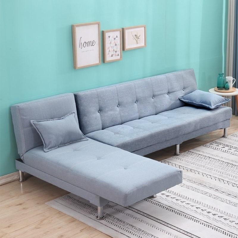 10-21新券天蓝色布艺沙发床贵妃转角折叠小户型三人位整装租房组合两用客厅