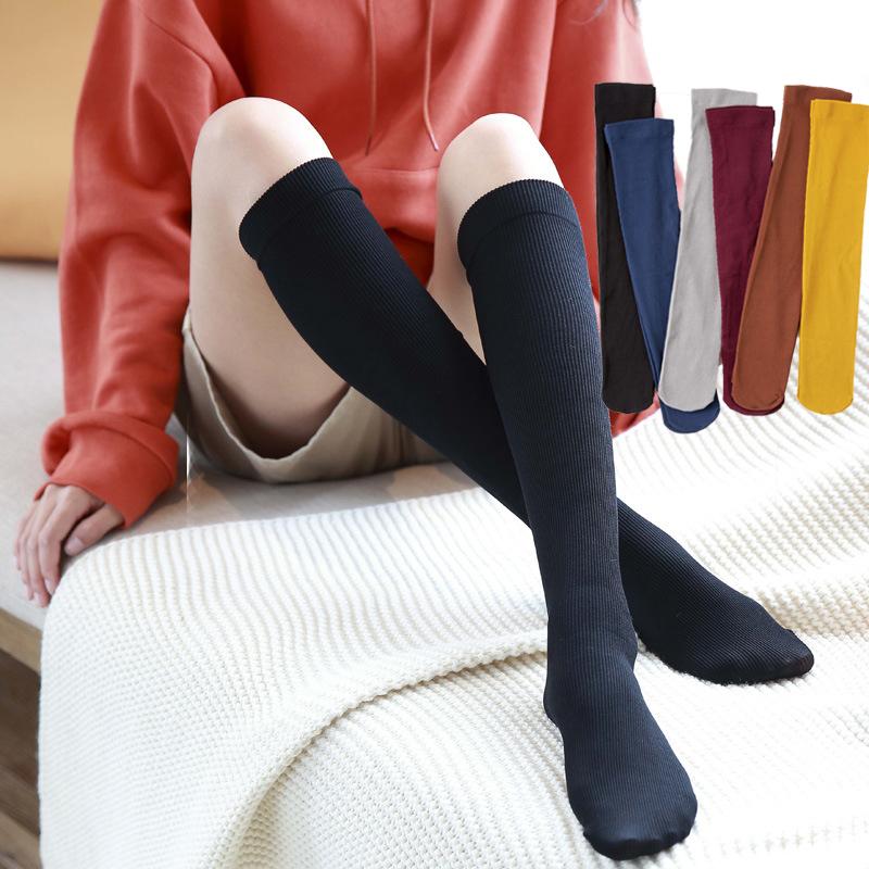 袜子女春夏小腿袜及膝袜中高筒袜韩版学院风纯棉不过膝长筒堆堆袜