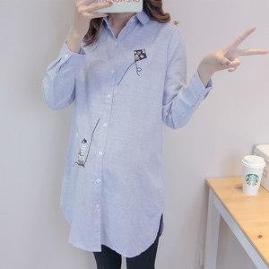 孕妇衬衣春秋长袖中长款条纹上衣韩版大码宽松职业装时尚夏季衬衫