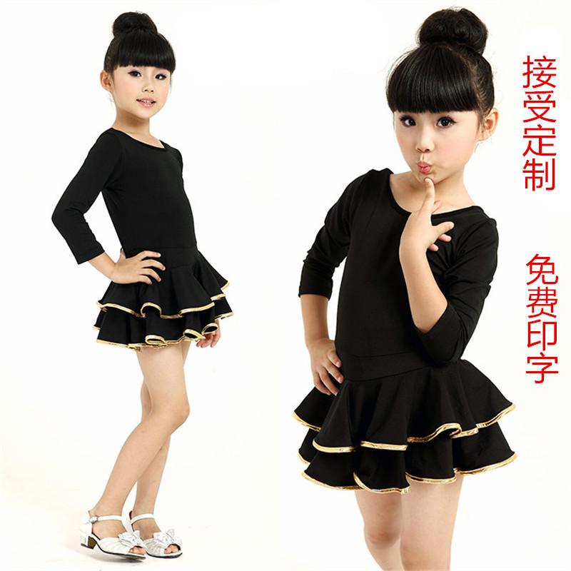 Girls Latin dance skirt childrens dance practice dress summer long short sleeve practice dress dress competition Dress Black