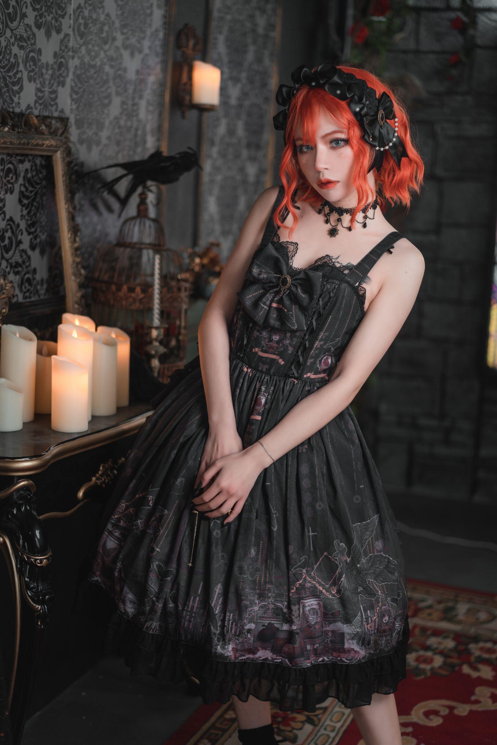 [deposit] ten og taboo bottle Lolita original dark wind suspender skirt small high waist jsk Lolita
