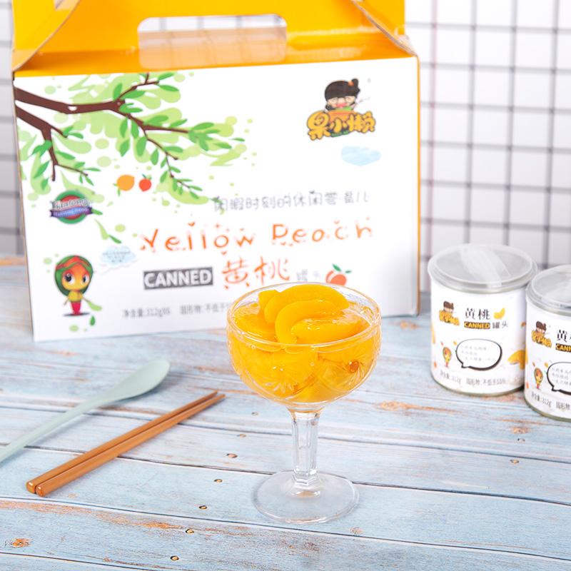 天同果小懶 水果罐頭新鮮糖水312克6罐黃桃罐頭整箱包郵
