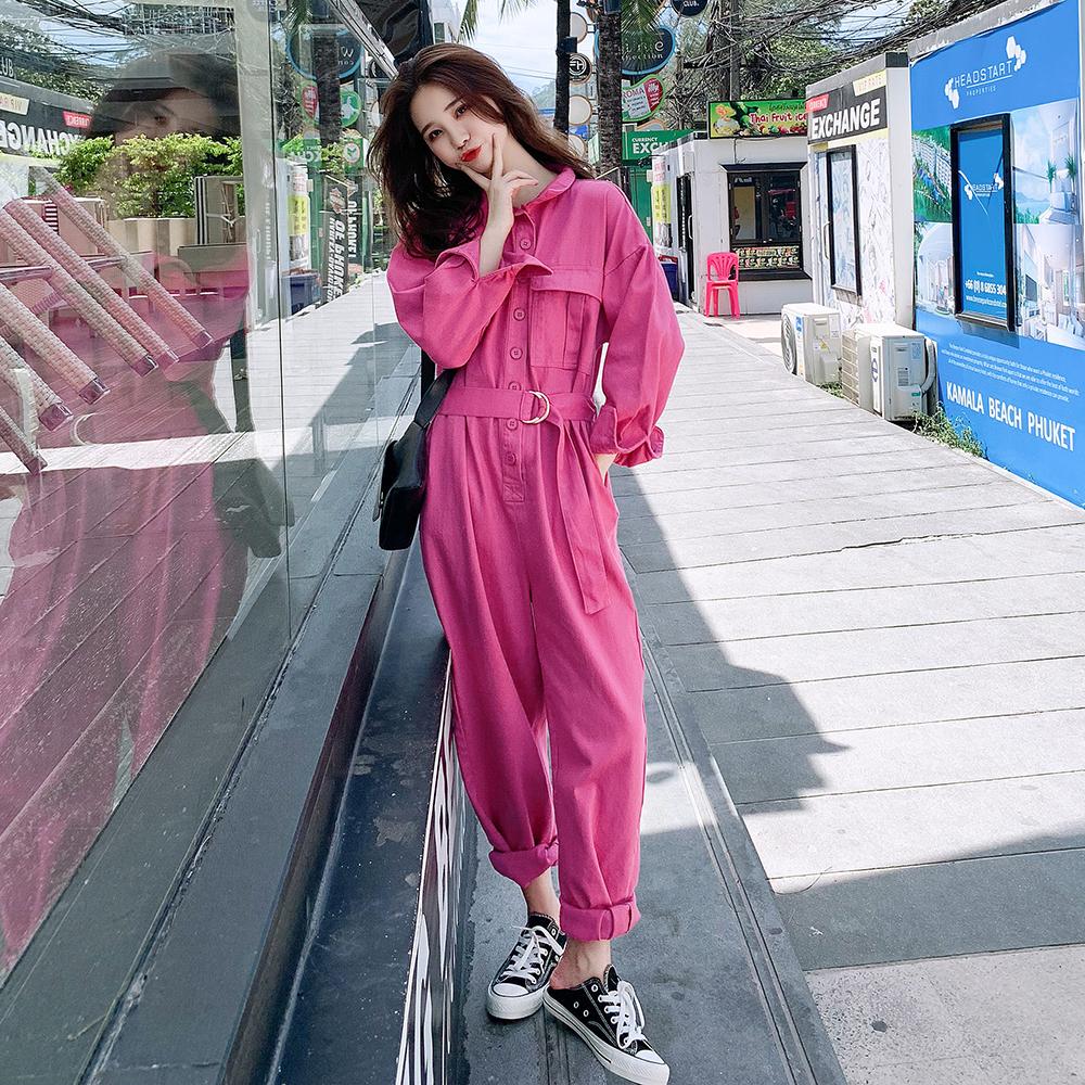 New Korean high waist slim long sleeve Jumpsuit in spring 2020