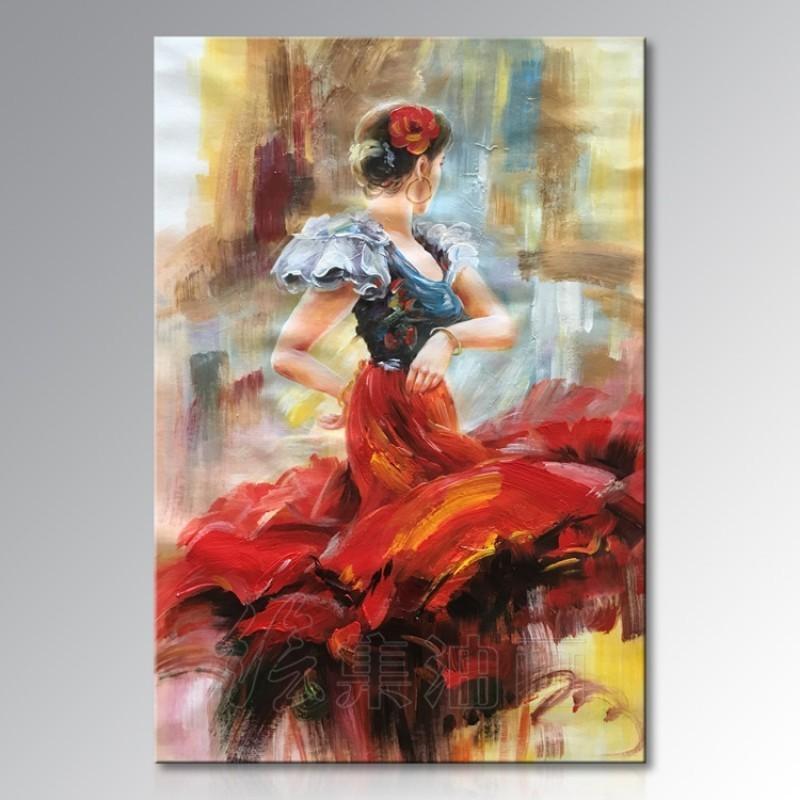 现代客厅舞蹈装饰画简约纯手绘抽象跳舞人物油画玄关卧室美女挂画满150元可用5元优惠券