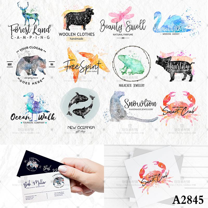 Hand painted watercolor Animal Bear deer Swan Dragonfly bird crab logo design PSD template business card design material