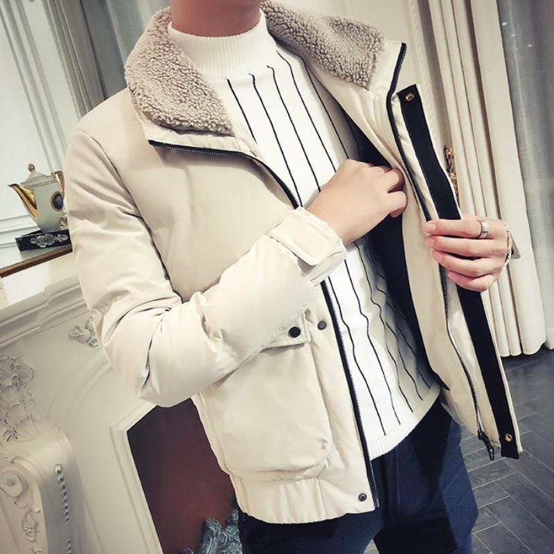 男款棉服2018新款修身冬装外套男羊毛羔加厚棉衣青年潮流帅气棉袄