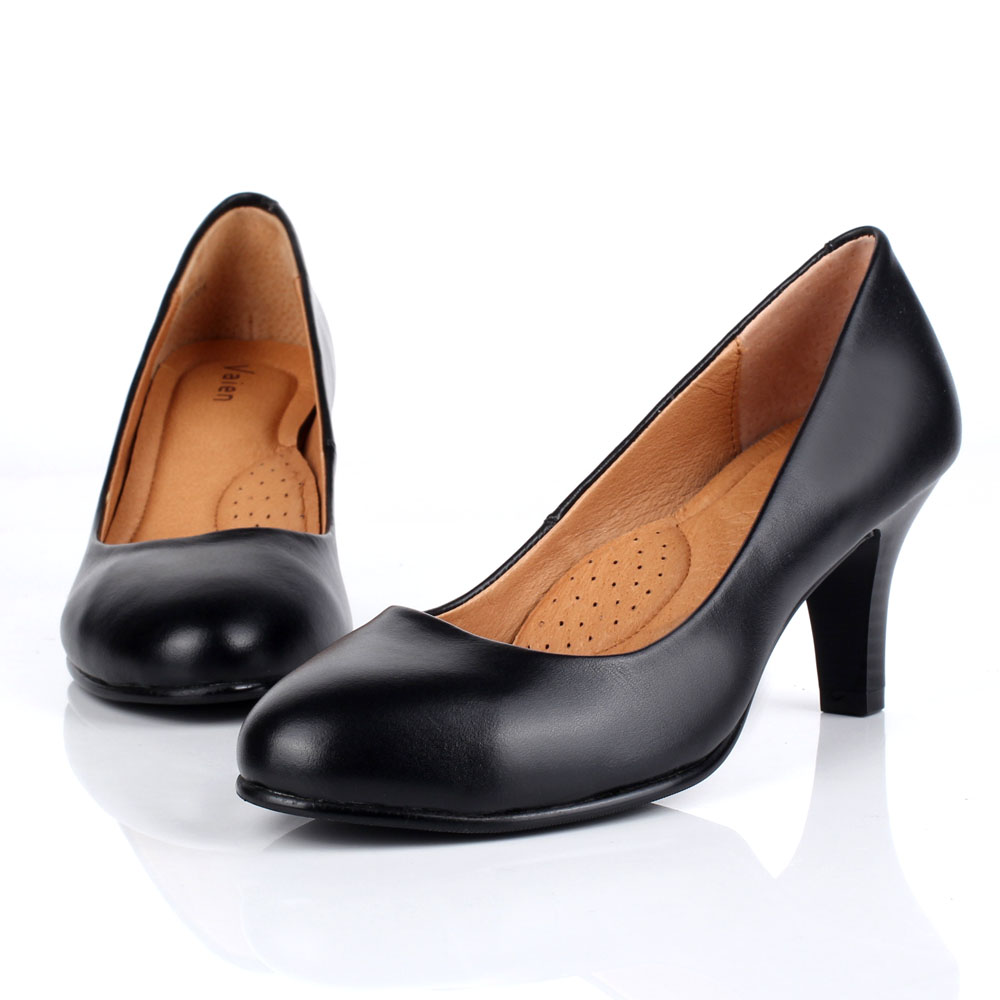 Leather work shoes womens black work dress shoes professional womens shoes stewardess high heels round head soft sole comfortable single shoes
