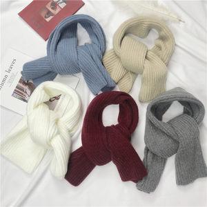 韩国东大门秋冬季短款小围巾女保暖纯色毛线针织日系围脖学生百搭