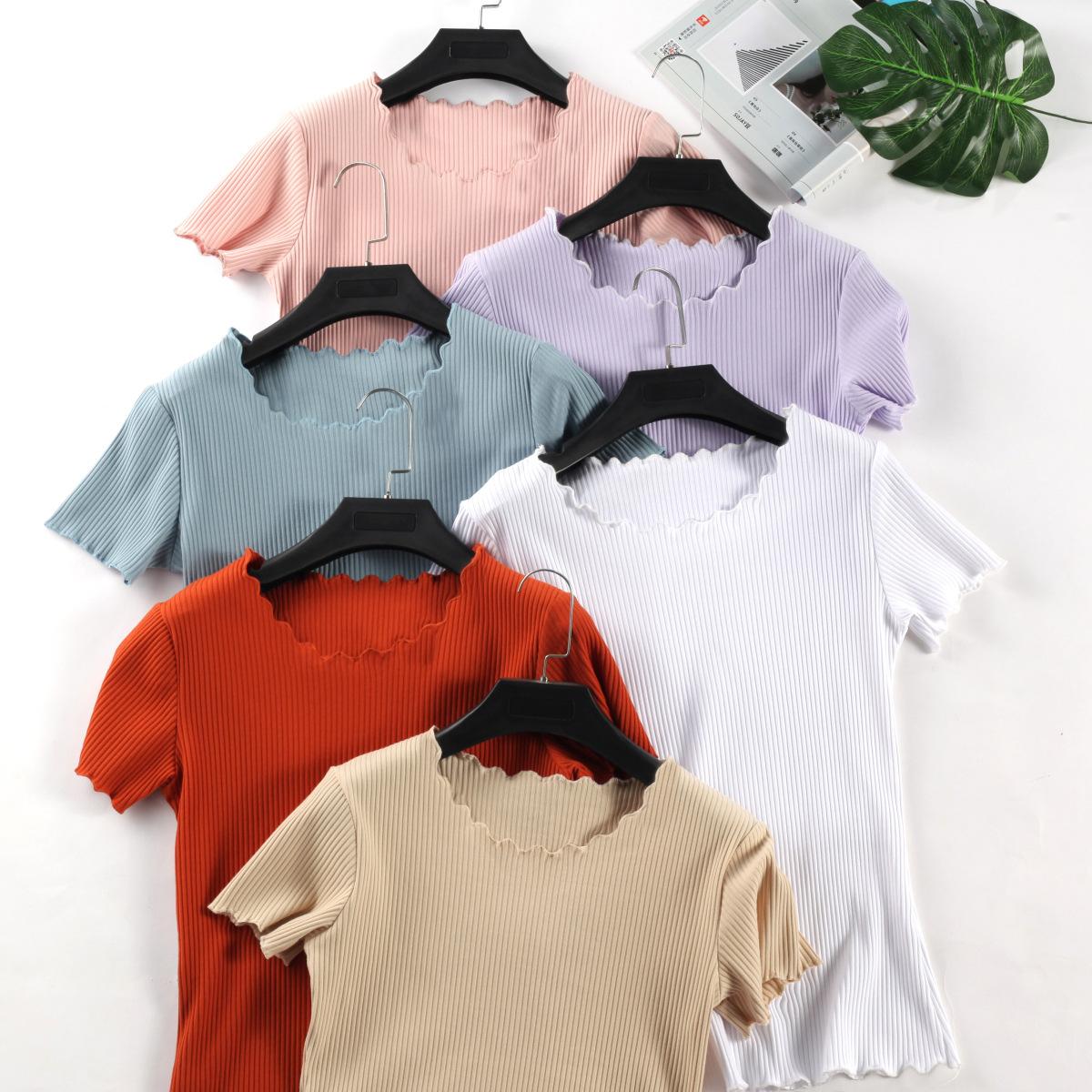 2019春夏新款木耳边短袖T恤女夏 坑条纯棉打底衫 纯色上衣27