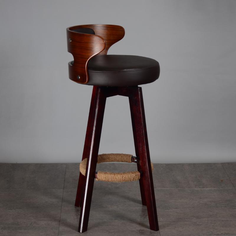 实木高脚凳吧台椅北欧柜台现代简约家用旋转靠背前台酒吧椅舒适