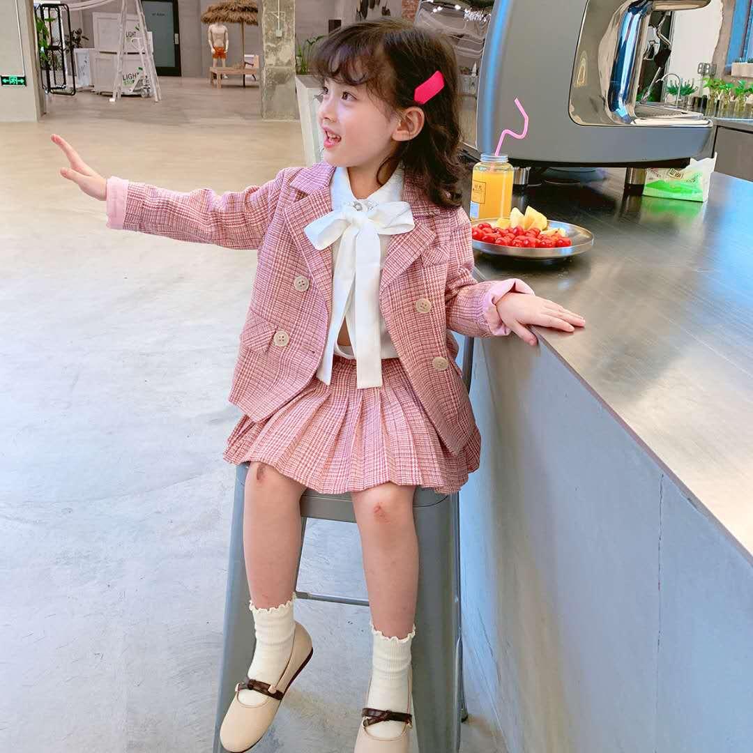 Girls foreign style Plaid suit 2020 new autumn dress little girls Korean suit two piece suit