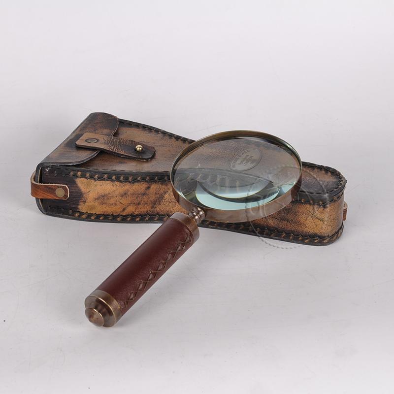 纯铜手持复古放大镜 印度进口高档礼盒装 10倍光学老人阅读古玩