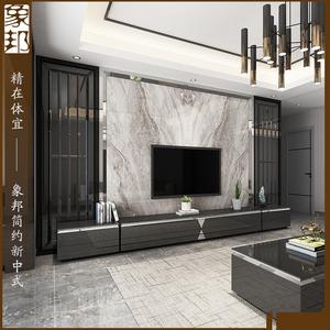 象邦新中式電視背景墻大理石瓷磚