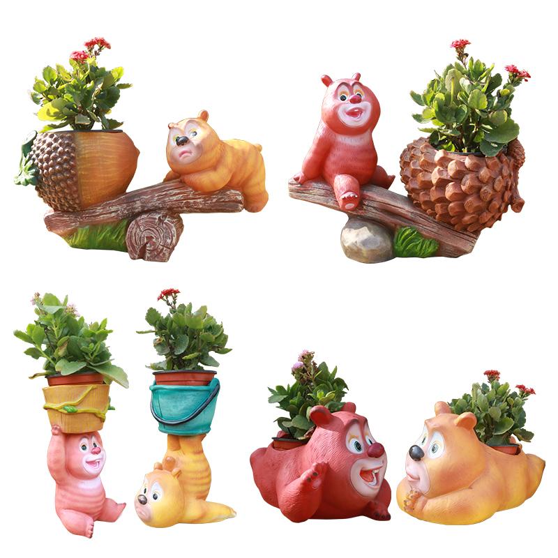 熊熊乐园卡通动物造型花盆熊大熊二光头强花缸花园庭院幼儿园装饰
