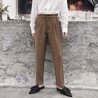 秋季百搭复古色修身显瘦气质九分小西裤N570 P70(不低于80)