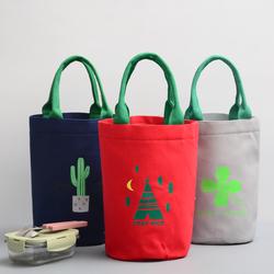 圆形焖烧壶保温桶套饭盒包带饭手提袋圆筒饭包饭盒袋子帆布便当包