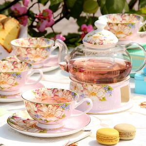花茶杯水果茶壶套装 陶瓷下午茶茶具套装英式壶茶具家用蜡烛加热