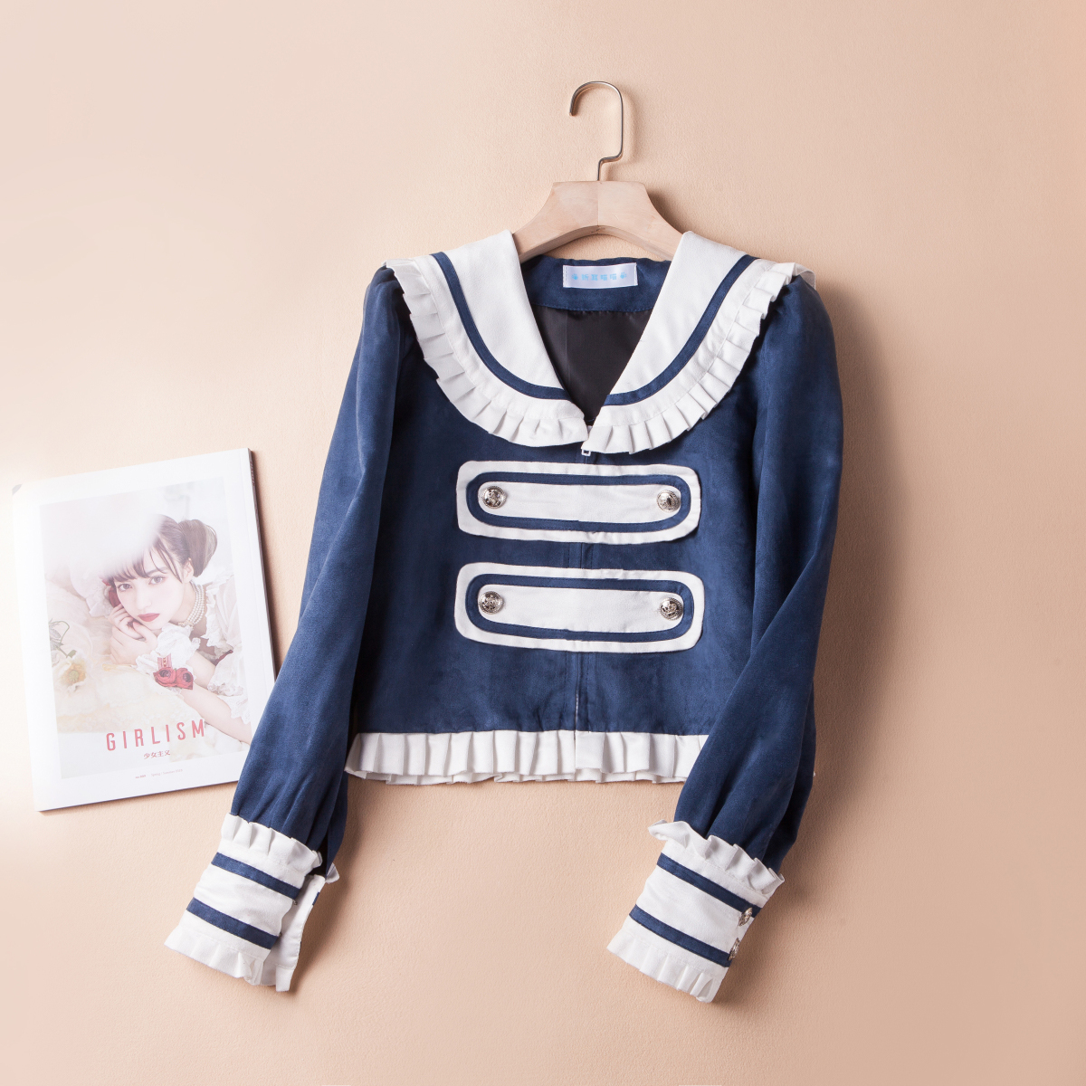 Original suede jacket sailor collar Lolita top