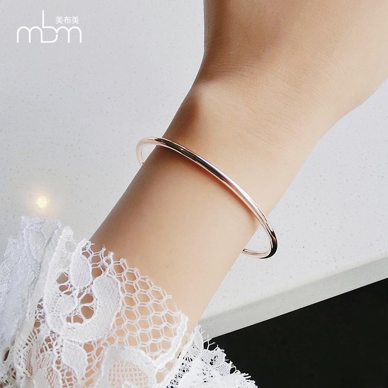 美布美韩版时尚简约圆形镀玫瑰金光圈手镯女钛钢饰品素圈手环18K