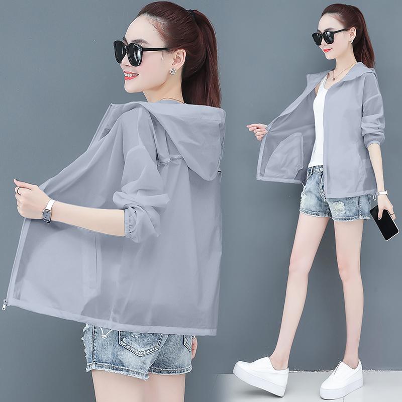 夏季短款防晒衣女2020新款防紫外线宽松百搭透气长袖防晒服薄外套图片