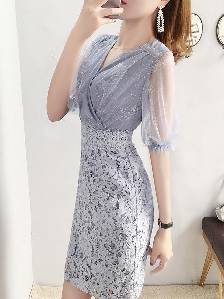 Summer 2020 new French mini dress womens gauze looks thin lace hip skirt