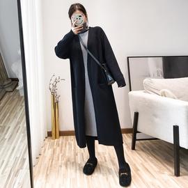 2020新款韩国复古纯色中长款毛衣外套女宽松慵懒网红针织开衫外穿