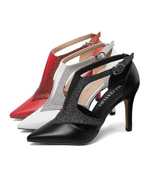 2019新款牛皮包头凉鞋 细高跟四季尖头中空扣带防滑罗马OL女单鞋