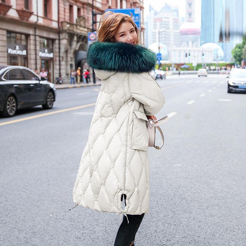 白色羽绒服女中长款2019新款韩版潮加厚宽松时尚白鸭绒冬季大毛领