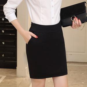 春夏防走光工作半身裙黑色西装裙西裙职业工装裙包臀口袋短裙子女