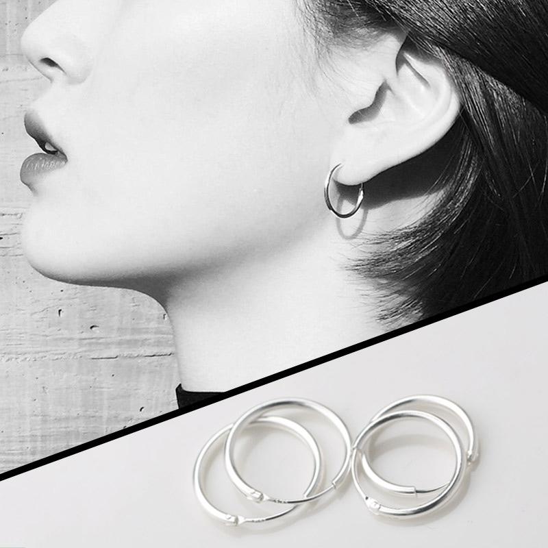 純銀耳環2019新款潮男女小圓圈耳圈耳釘2020耳飾品銀飾耳骨環耳扣