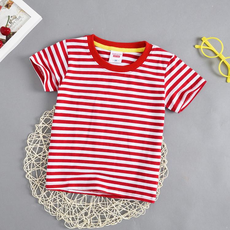 儿童蓝色条纹衫短袖t恤男童女童红色海军风条纹半袖3-9岁宝宝全棉