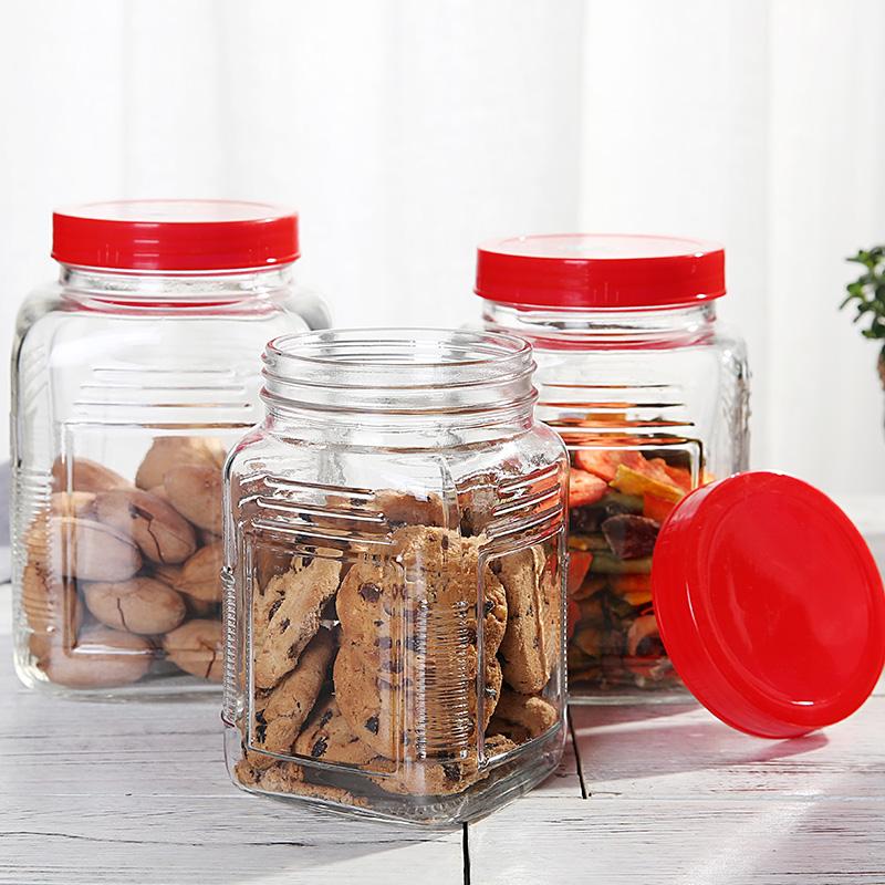 塑料盖子干果零食干货玻璃存储罐补品防潮存储食品玻璃瓶子密封罐