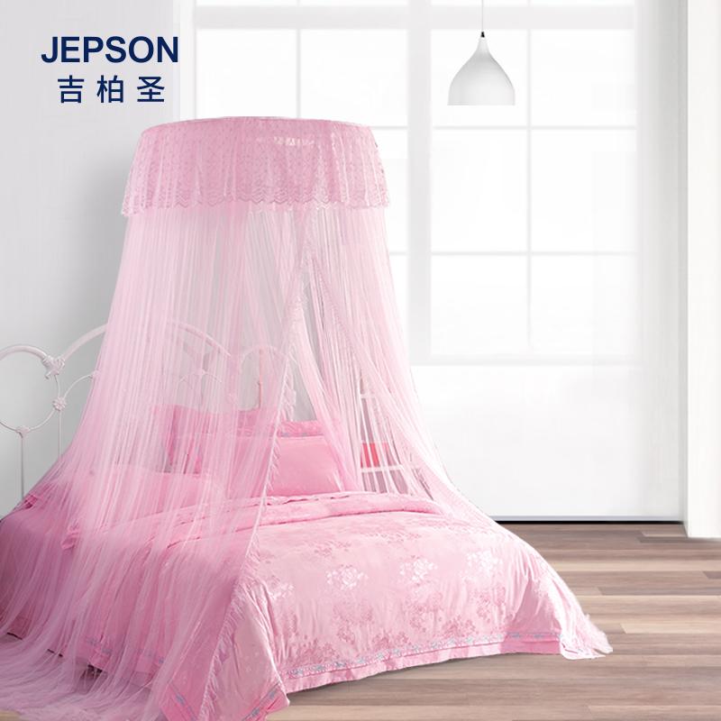 韩式蕾丝公主落地式单双人吊顶床幔