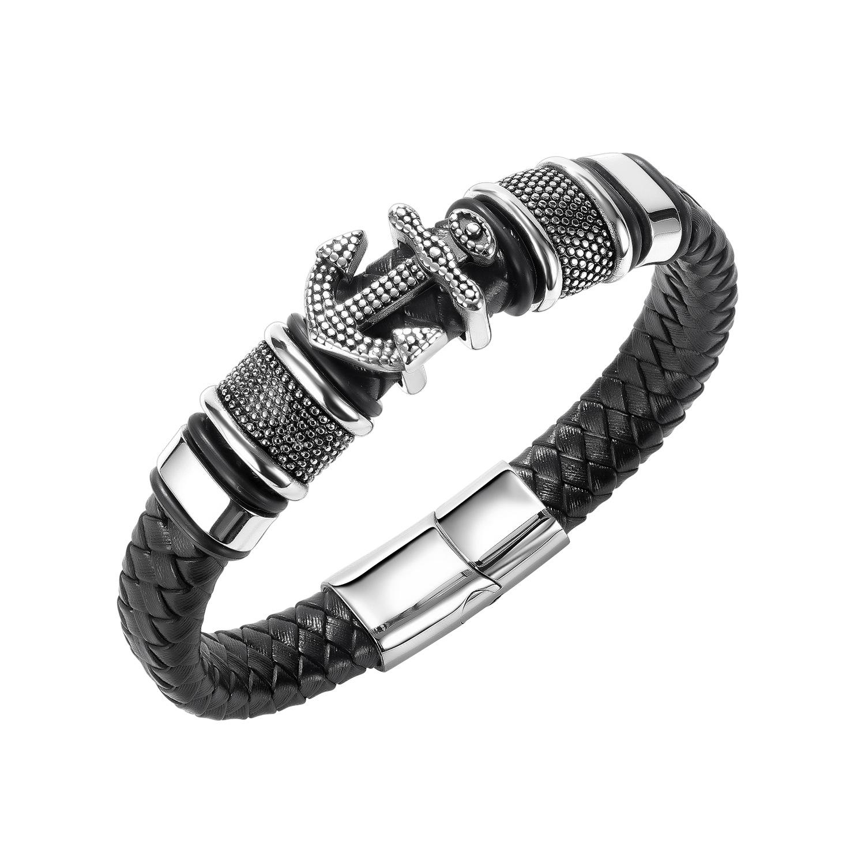 OPK jewelry cross border e-commerce New Retro woven leather bracelet European and American fashion multi-layer anchor Leather Bracelet