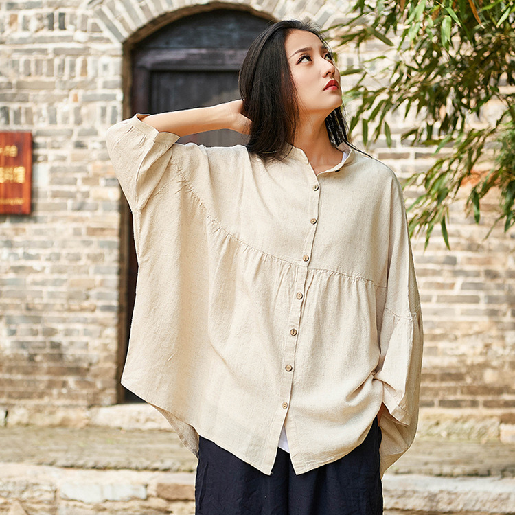 2020 spring and summer cotton and linen womens new Chinese shirt retro linen bat sleeve Quarter Sleeve large sunscreen coat