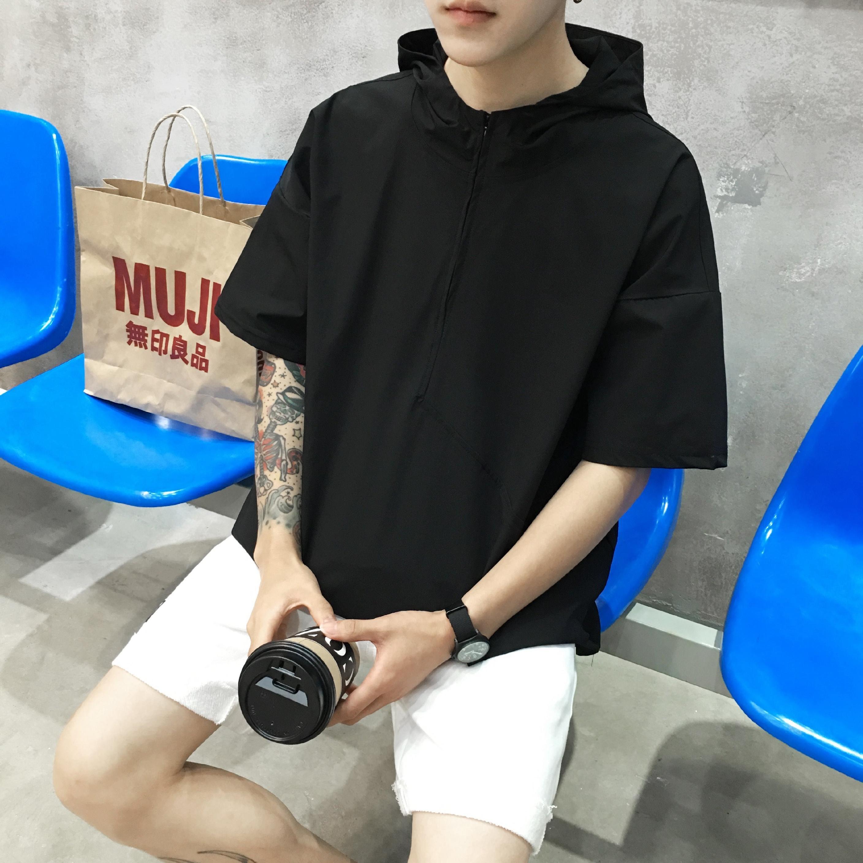 夏季韩版连帽短袖t恤男士卫衣带帽7分长袖宽松上衣服五分中袖潮流
