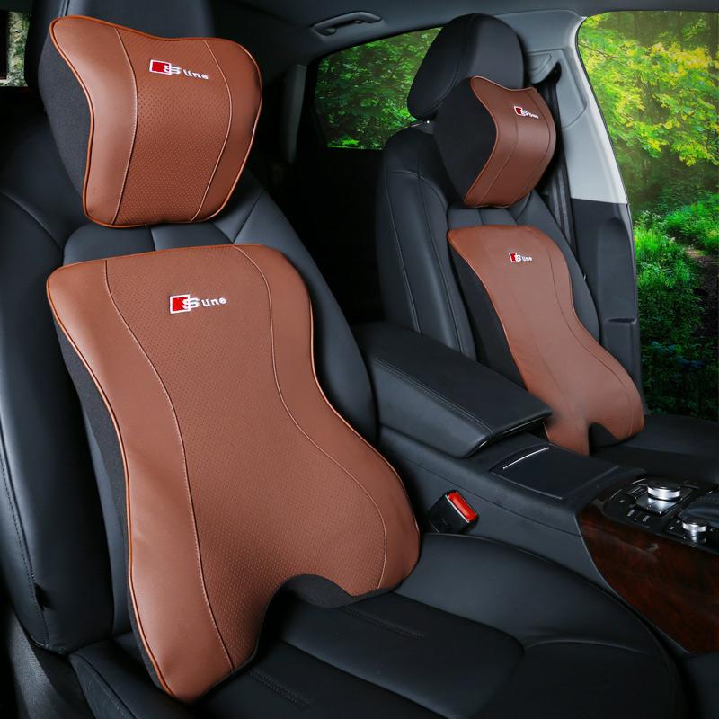 於奧迪A4L A3 A6L Q3 Q5內飾汽車頭枕 記憶棉車用腰靠護頸枕