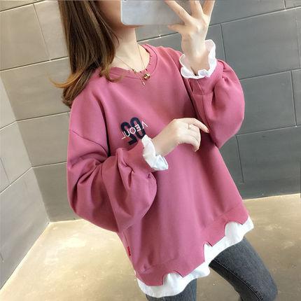 網紅寬松ins潮假兩件衛衣女2020新款春裝超火cec上衣外套韓版T恤