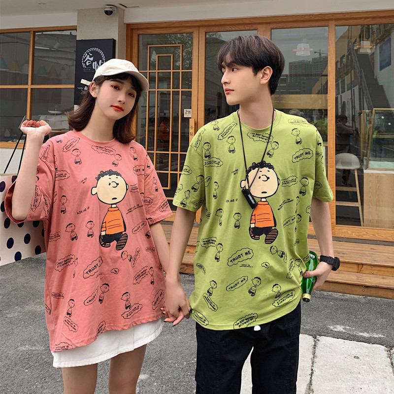 T-shirt mens short sleeve Korean printed cotton youth large lovers wear boys and girls loose half sleeve top summer