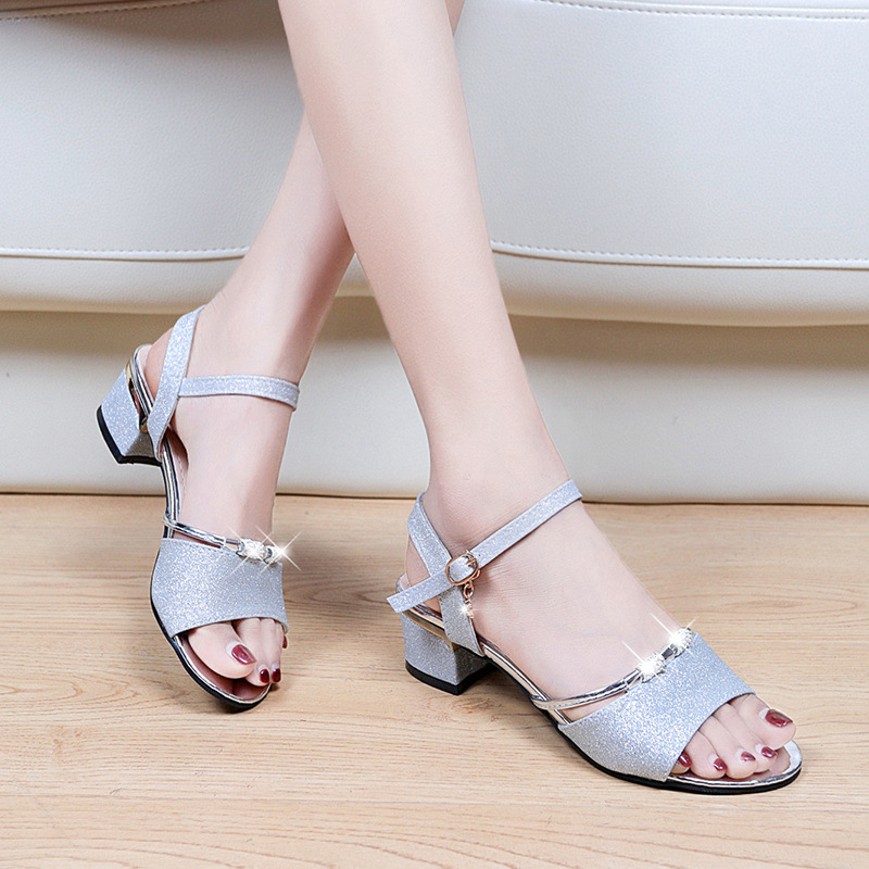 2020 summer new womens sandals thick heel open toe fish mouth silver versatile womens shoes wholesale ankle strap can be issued on behalf of
