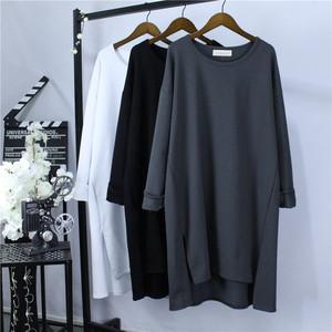 春秋季新款韓版純色長袖t恤女百搭寬松棉體恤大碼女裝打底衫200斤
