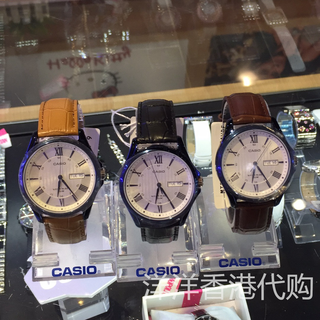 香港代购 CASIO卡西欧石英手表男款 卡西欧情侣真皮手表男士