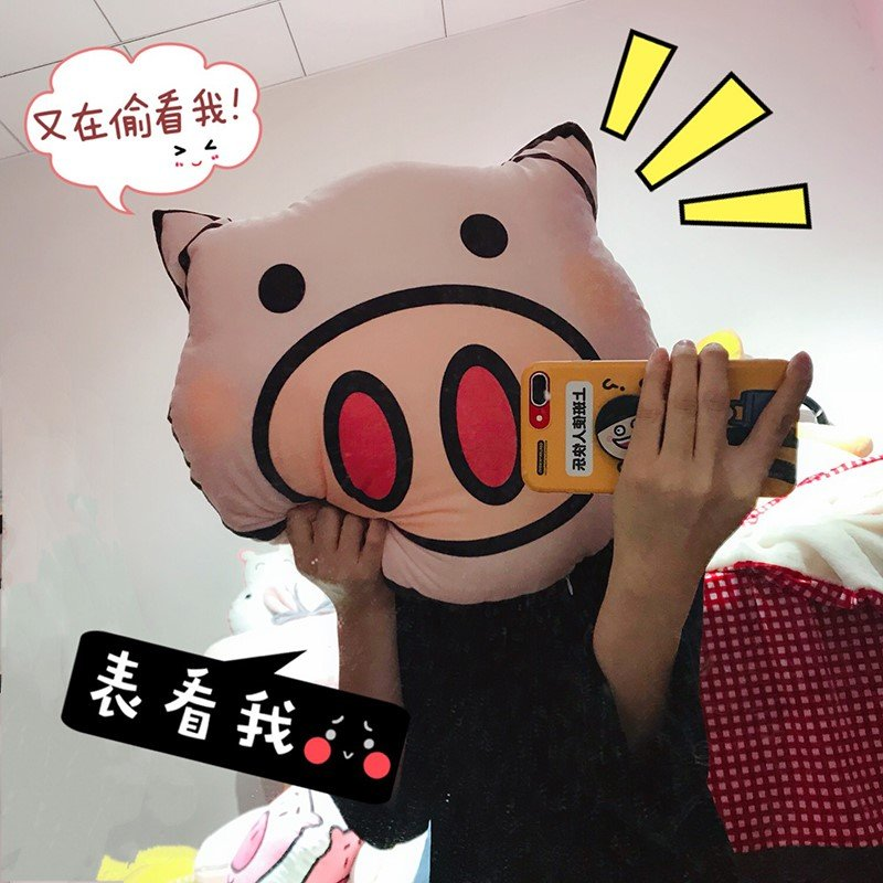 【你的小眼睛在看哪里?】粉嘟嘟敲可爱绒面胖猪头抱枕~双面印花