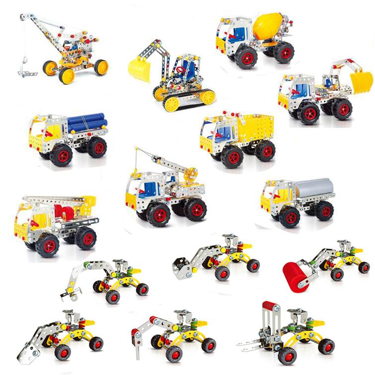 包邮 金属拼装模型挖土机工程车螺母组合拆装儿童diy手工创意玩具