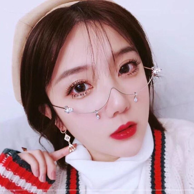 Lower half frame eyeglasses women with chain decoration water drop eyeglasses frame with drilling eyeglasses frame jewelry eyeglasses frame alloy